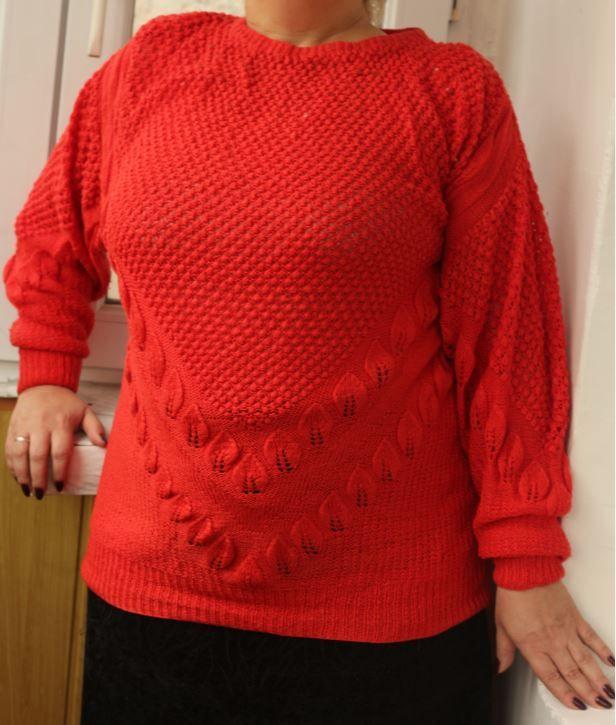 Пуловер с оригинальным узором из листьев-1-jpg.5332